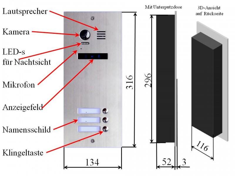 edelstahl aussenstation dt21s3 f r 3 familienhaus avitec. Black Bedroom Furniture Sets. Home Design Ideas